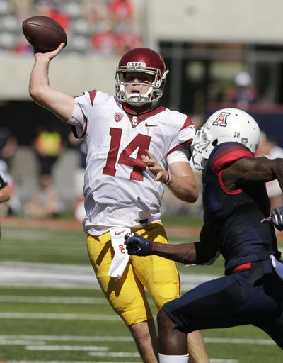 USC quarterback Sam Darnold threw five touchdown passes against Arizona. (Rick Scuteri / Associated Press)