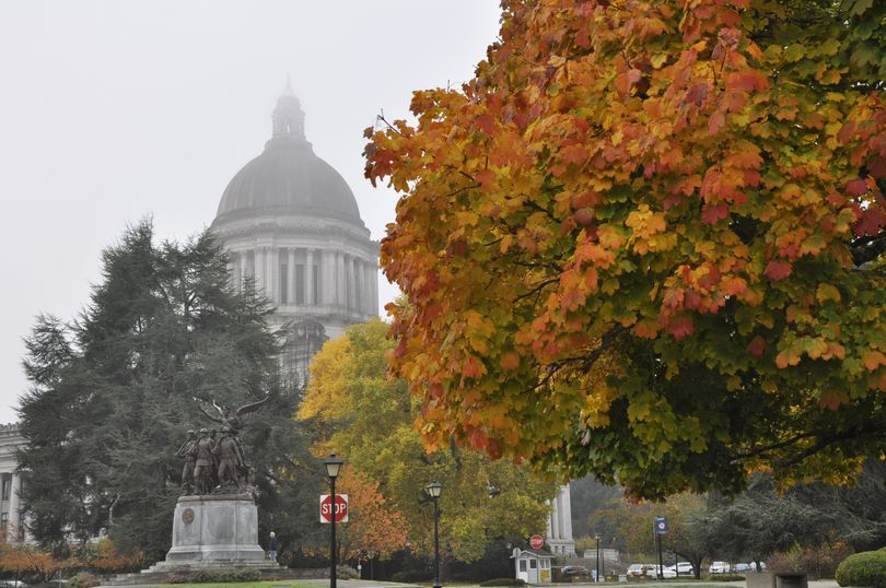 OLYMPIA -- Fall in Washington means changing colors, fog around the Capitol and a general election on Nov. 7. (Jim Camden/The Spokesman-Review)