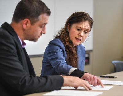Adam Swinyard, left, and then-Spokane Public Schools superintendent Shelley Redinger gather in 2019. Swinyard will be taking over the position.  (DAN PELLE/THE SPOKESMAN-REVIEW)