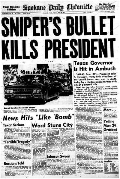 Spokane Daily Chronicle front page on Nov. 22, 1963 (Spokesman-Review archives)