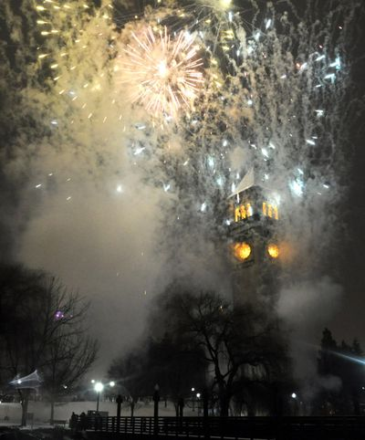 Fireworks burst over the Riverfront Park Clocktower as 2009 turns to 2010 in Spokane. (Jesse Tinsley / The Spokesman-Review)