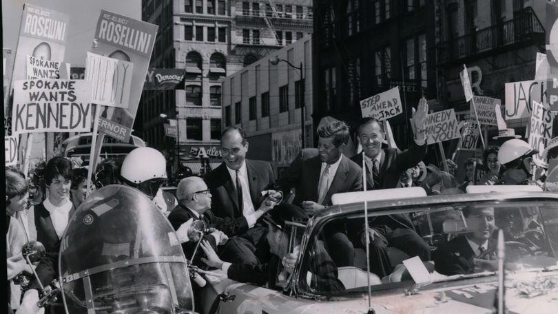 Sen. John Kennedy campaigns in Spokane in 1960. (Spokesman-Review archives)