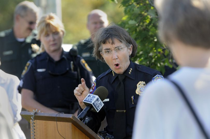 Spokane Police Chief Anne Kirkpatrick emphasizes her department's commitment to protecting residents from racist harassment at a news conference Friday, Aug. 21, 2009, near the state line. The event was held in reaction to the recent distribution of racist fliers in Coeur d'Alene. (Jesse Tinsley / The Spokesman-Review)