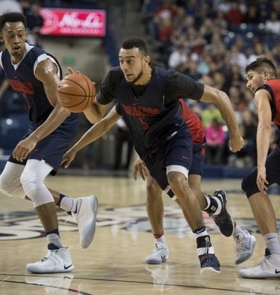 Gonzaga's Nigel Williams-Goss (5) has been named to the Cousy Award watch list. (Colin Mulvany / The Spokesman-Review)