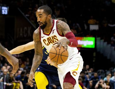 In this Oct. 8, 2018 photo, Cleveland Cavaliers guard J.R. Smith dribbles to the basket during the first quarter of a preseason NBA basketball game against the Indiana Pacers in Cleveland. J.R. Smith has joined LeBron James and the Los Angeles Lakers for their championship push. The Lakers announced their long-anticipated signing of Smith as a substitute player on Wednesday, July 1, 2020, the first day allowed under the rules of the NBA's summer restart.  (Associated Press)