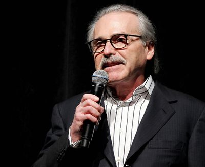 David Pecker, Chairman and CEO of American Media, addresses those attending the Shape & Men's Fitness Super Bowl Party on Jan. 31, 2014, in New York. The Aug. 21, 2018 plea deal reached by Donald Trump's former attorney Michael Cohen has laid bare a relationship between the president and Pecker, whose company publishes the National Enquirer. Besides detailing tabloid's involvement in payoffs to porn star Stormy Daniels and Playboy Playmate Karen McDougal to keep quiet about alleged affairs with Trump, court papers showed how David Pecker, a longtime friend of the president, offered to help Trump stave off negative stories during the 2016 campaign. (Marion Curtis / AP)