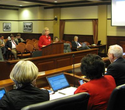 Sen. Mary Souza, R-Coeur d'Alene, pitches legislation changing Idaho school board elections to the Senate Education Committee on Monday; the panel rejected the bills. (Betsy Z. Russell)