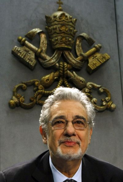 """In November, Tenor Placido Domingo presented his CD collection titled """"Amore Infinito - Canzoni ispirate alle poesie di Giovanni Paolo II - Karol Wojtyla"""" (Infinite Love - Songs inspired by the poems of John Paul II - Karol Wojtyla) during a news conference at the Vatican.  (Associated Press / The Spokesman-Review)"""