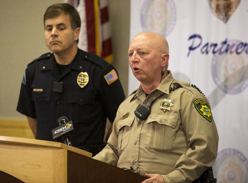 Kootenai County Sheriff Ben Wolfinger, right, and Post Falls Police Chief Scot Haug answer questions on Wednesday regarding Bo Kirk, who's body was found Tuesday in the Hayden Creek area. (Loren Benoit/Coeur d'Alene Press)