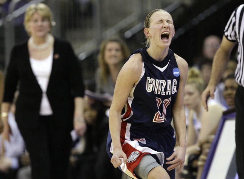 ORG XMIT: WAET111 Gonzaga's Courtney Vandersloot reacts after tipping a ball out of bounds late in the second half of a second-round women's NCAA college basketball tournament game against Pittsburgh Monday, March 23, 2009, in Seattle. Pittsburgh won 65-60. (AP Photo/Elaine Thompson) (Elaine Thompson / The Spokesman-Review)