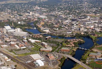 Spokane's Riverpoint Campus, lower center and left, and Gonzaga University, lower right, comprise the greatest portion of the University District, which business, education and government leaders are promoting as the hub of regional economic growth.  (FILE / The Spokesman-Review)