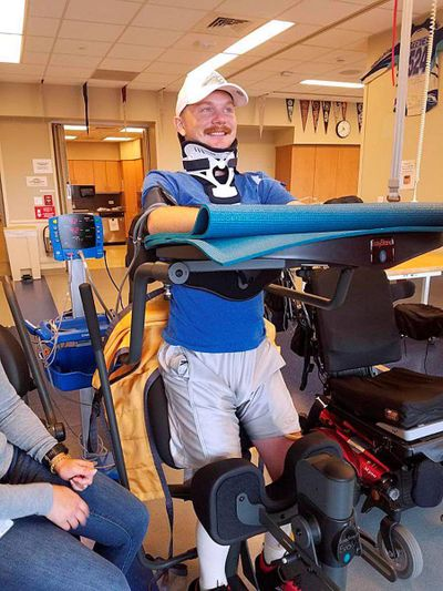 Zach Moore, of Lewiston, works on his recovery from a spinal cord injury at Craig Hospital in Englewood, Colo. (Josh Moore)