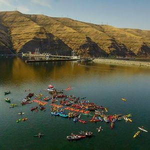 More than 160 boats and 300 advocates staged a peaceful protest, dubbed 'Free the Snake,' between Wawawai Landing and Lower Granite Dam on Oct. 3, 2015, calling for breaching the lower four Snake River dams primarily for the benefit of endangered salmon and steelhead fisheries. (Photo by Ben Moon / Photo by Ben Moon)