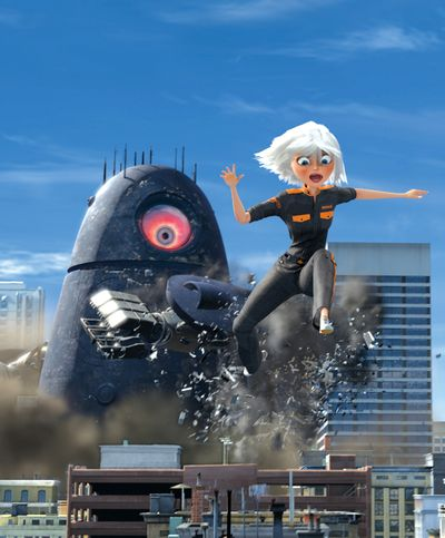 """Ginormica, voiced by Reese Witherspoon, powers through the atmosphere in a scene from  """"Monsters vs. Aliens."""" DreamWorks Animation (DreamWorks Animation / The Spokesman-Review)"""