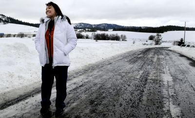 Valerie Fast Horse, Coeur d'Alene Tribe information technology director, talks about the start of the Coeur d'Alene Tribe's new radio station outside tribal headquarters in Plummer on Wednesday.  (Kathy Plonka / The Spokesman-Review)