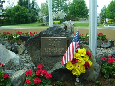 """A plaque honoring PFC Robert """"Jerry"""" Gordon was dedicated before a crowd of more than 200 on Memorial Day at Hayden City Hall. Special to Spokesman-Review (Carl Gidlund Special to Spokesman-Review / The Spokesman-Review)"""