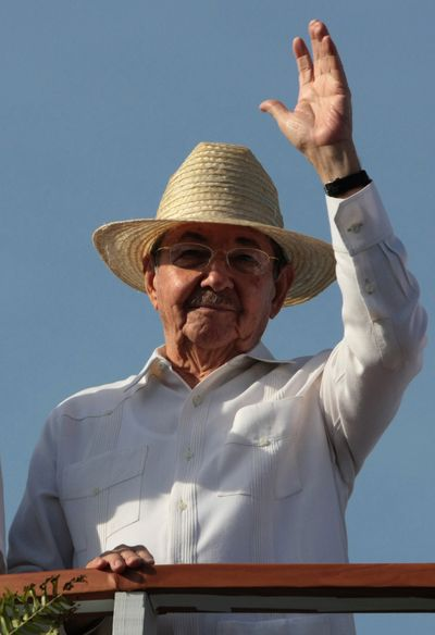 President Raul Castro waves to the crowd during International Workers' Day in Cuba on Friday.  (Associated Press / The Spokesman-Review)