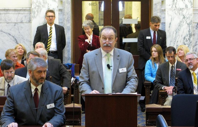 North Idaho College President Joe Dunlap makes his budget pitch to state lawmakers in Boise on Monday, Jan. 20, 2014.  (Betsy Russell / Spokesman-Review file photo)