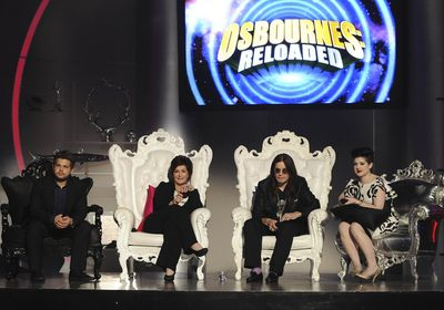 """The Osbournes, from left, Jack, Sharon, Ozzy and Kelly host """"Osbournes Reloaded,"""" a six-episode TV variety show in Los Angeles.  (Associated Press / The Spokesman-Review)"""