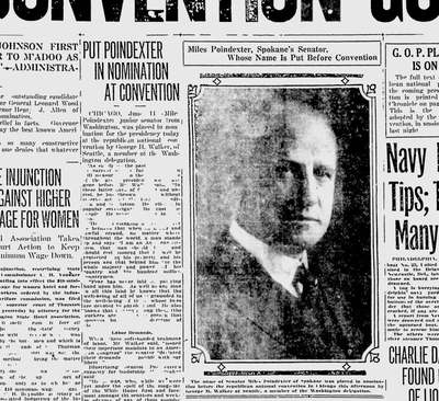 {div}It appeared as though the Washington delegation was holding steady in its determination to cast all of their votes for Sen. Poindexter on the first ballot – but they had only 14 votes. {/div}  (Spokane Daily Chronicle archives)