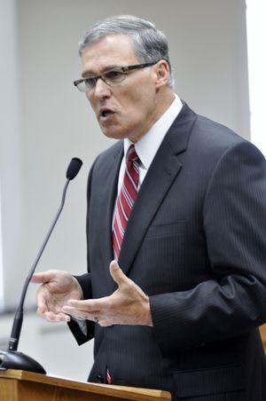 OLYMPIA -- Gov.-elect Jay Inslee addresses a legislative preview forum on Jan. 10, 2013.  (Jim Camden)