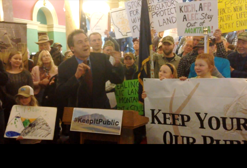 Montana Gov. Steve Bullock speaks out against federal land transfer legislation in a rally organized by sportsman at the Capitol in Helena. (From Helena Indpendent-Record video)