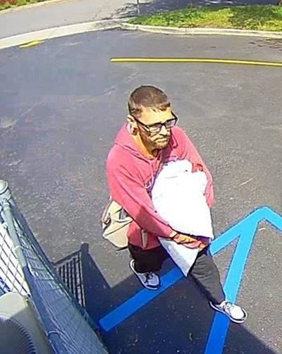 A security camera captured this image of a man believed to have burglarized the Herzog Family Center, 2711 S. Grand Blvd. on Sunday, May 3, 2020. (Courtesy Spokane Police Department)