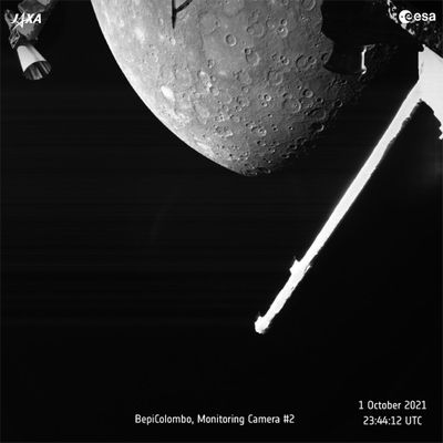 This image made available by the European Space Agency (ESA) shows planet Mercury taken by the joint European-Japanese BepiColombo spacecraft Mercury Transfer Module's Monitoring Camera 2, Friday, Oct. 1, 2021.  (HOGP)