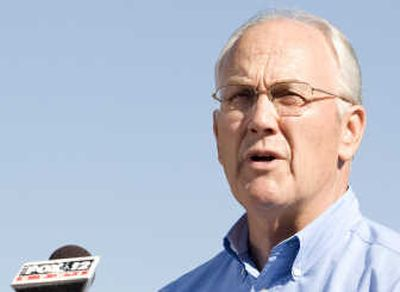 U.S. Sen. Larry Craig is shown announcing his resignation in Boise.  (Associated Press / The Spokesman-Review)