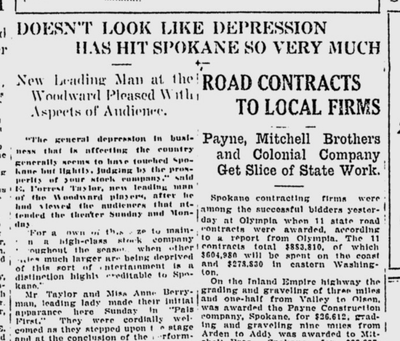 The leading man of Spokane's new resident theater company told the Spokane Daily Chronicle that attendance at shows was strong in spite of dour economic conditions in the United States.  (S-R archives)