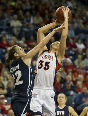 BYU's Mindy Bonham (22) fouls Gonzaga's Claire Raap (35) in the first half Tuesday, Dec. 21, 2010 in the McCarthey Athletic Center. (Colin Mulvany / The Spokesman-Review)