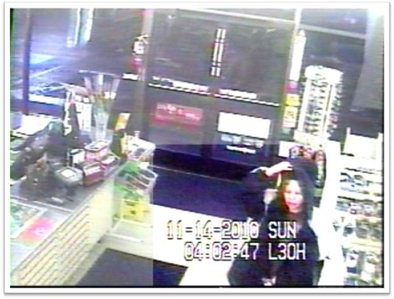 Police are trying to identify two beer thieves who assaulted someone outside a convenience sore last month. The man and woman stole beer from 7-Eleven, 323 W. Indiana, about 4:05 a.m. on Nov. 14, Spokane police said today. The man assaulted someone outside the store before fleeing. Police have not said if the victim was a customer or store clerk. The woman is described as white, 5-foot-7, 160 pounds, about 35 years old with shoulder-length brown hair and blond highlights. She wore a baggy jacket and shorts. The man was described as white with a shaved head. Surveillance video captured an image of the woman. Anyone with information is asked to call Crime Check at (509) 456-2233 or Crime Stoppers at 1-800-222-TIPS. (Spokane Police Department)