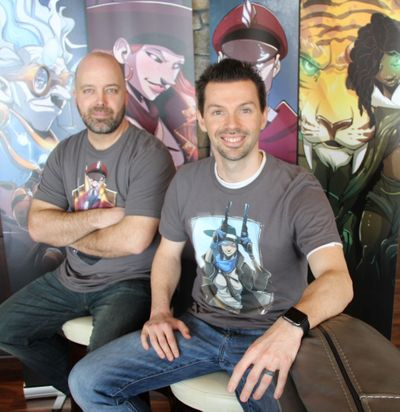 "Spokane software engineer Nate Chatellier, right, and artist Manny Trembley are creating a ""Season Two"" sequel to their popular Dice Throne board game. (Michael Guilfoil / The Spokesman-Review)"