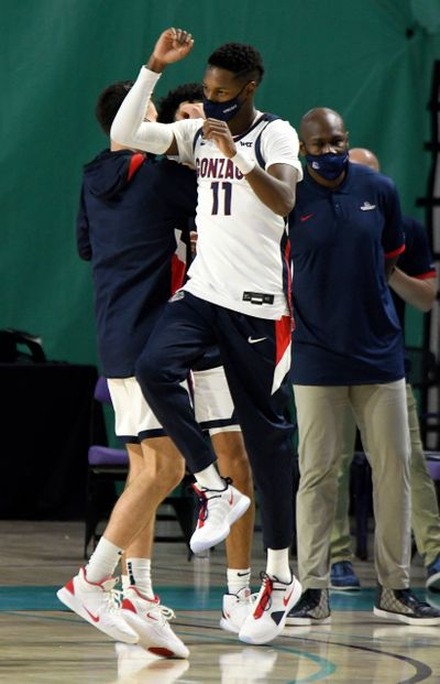 Gonzaga junior guard Joel Ayayi celebrates after the top-ranked Bulldogs defeated No. 6 Kansas 102-90 on Thursday at the Fort Myers Tip-Off in Fort Myers, Fla.  (Chris Tilley/Fort Myers Tip-Off)