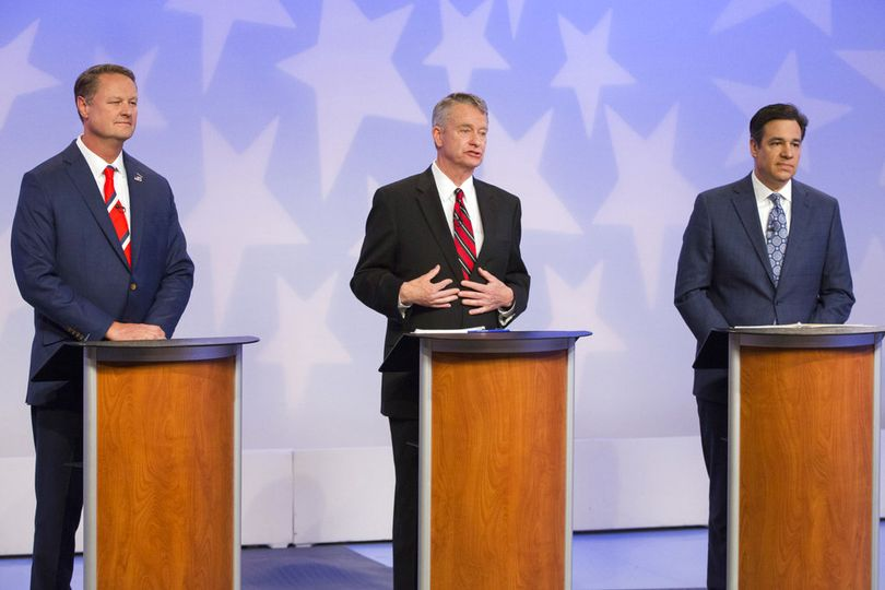 From left, Republican Boise businessman Tommy Ahlquist, Lt. Gov. Brad Little and Rep. Raul Labrador, R-Idaho, participate in a debate at the studios of Idaho Public Television in Boise, Idaho, Monday, April 23, 2018.  (AP / Otto Kitsinger)