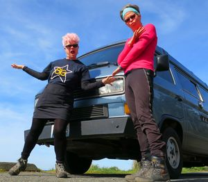 Going Mobile's Leslie Kelly and John Nelson are Peace Van fans from way back in 2018. This shot was taken on the Washington state coast. (John Nelson)