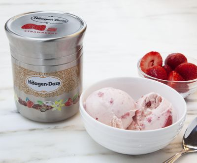 This photo shows Nestle's stainless steel Häagan-Dazs ice cream container designed for use with Loop, the new shopping platform announced at the World Economic Forum. (Associated Press)