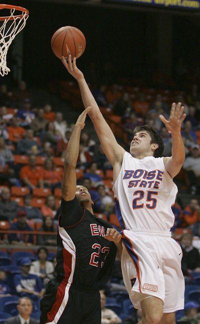 Boise State's Paul Noonan drives against EWU's Kevin Winford. (Associated Press)