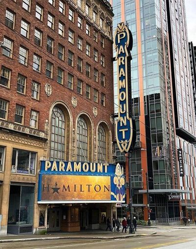 """""""Hamilton"""" cast member Phil Colgan took this photo of the Paramount Theater in Seattle and posted it to his Instagram on Jan. 29. The acclaimed musical kicked off its second national tour in Seattle on Tuesday, and will run at the Paramount through March 18. (Phil Colgan)"""