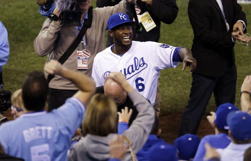 Kansas City's Lorenzo Cain celebrates after the Royals' Game 2 win. (Associated Press)