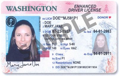 This is an image of the new Washington State Enhanced Driver License. Courtesy of Washington State Dept. of Licensing (Courtesy of Washington State Dept. of Licensing / The Spokesman-Review)