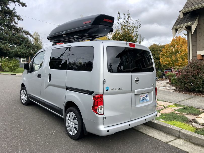 Campbell Nissan's Free Bird in the wilds of Happy Valley, a neighborhood in Bellingham. Spotting one of these camper vans reminded us how much we liked them. (Leslie Kelly)