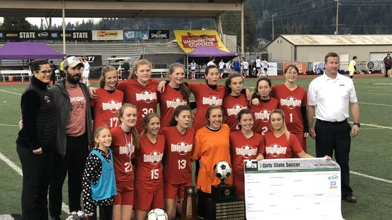 The Davenport girls soccer team won the State 2B/1A title on Saturday, Nov. 23, 2019. (WIAA)