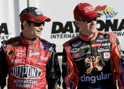 Jeff Burton, right, will start from the pole at the Daytona 500 on Feb. 19, and Jeff Gordon will start second.   (Associated Press / The Spokesman-Review)