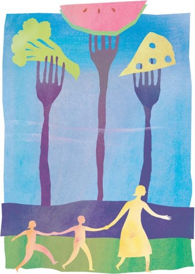 Sharon Kilday's color illustration of tall forks of broccoli, watermelon and cheese looming over mother and children. (Kilday / MCT)