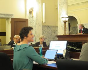 Angela Hemingway, executive director of the STEM Action Center, makes her budget presentation to lawmakers on the Joint Finance-Appropriations Committee on Wednesday, Jan. 17, 2018. (Betsy Z. Russell)