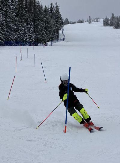 Mt. Spokane Ski Race Team member Tyee McLaughlin speeds through a practice course.  (Dave Dubuque/courtesy)