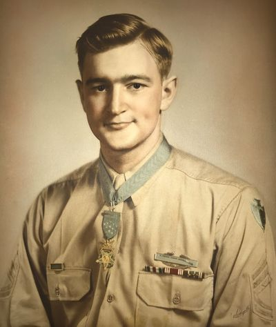 Charles Coolidge wears the Medal of Honor.  (Charles H. Coolidge National Medal of Honor Heritage Center)