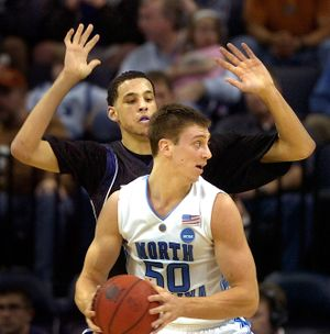 One potential first rounder against another: GU's Austin Daye guards UNC's Tyler Hansbrough in their NCAA Tournament game this spring. (Christopher Anderson / The Spokesman-Review)