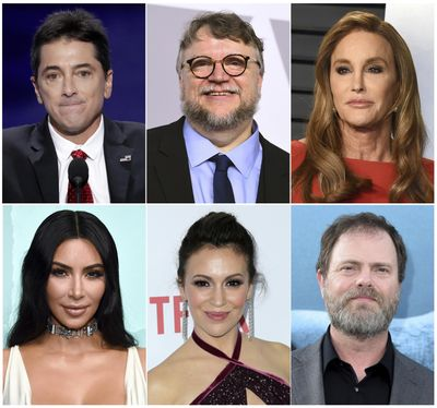 This combination photo shows celebrities, top row from left, Scott Baio, Guillermo del Toro, Caitlyn Jenner and bottom row from left, Kim Kardashian, Alyssa Milano and Rainn Wilson, who have been forced to evacuate their homes due to a fast-moving wildfire in Southern California. (Associated Press)